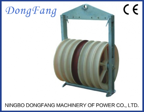Bundled conductor pulleys for stringing six conductors SHQ660