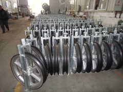 Conductor Pulleys with aluminum alloy sheaves for stringing overhead transmission line